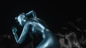 4K extracto A I Inteligencia artificial con una forma femenina almacen de metraje de vídeo
