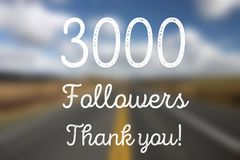 3k fans. 3000 followers - company social media account thank you note. 3k fans Royalty Free Stock Image