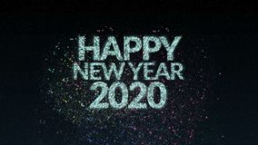 4K. firework of Happy new year 2020 greeting text with particles and sparks during new year eve countdown celebration, animation
