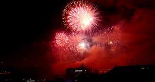 4K fireworks footage exploding in a black sky in Geneva Switzerland stock video