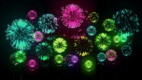 4K - fireworks. Holiday celebration, big fireworks at holiday night. Version 5. 4K - fireworks. Holiday celebration, big fireworks at holiday night. Version 5 stock illustration