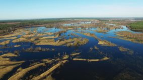 4K. Flight over flooded blue river in early spring, aerial panoramic view