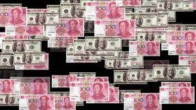 4k Float looming 100 dollar 100 RMB bills exchange rate money wealth background. stock video