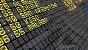 4K - Flughafen-Abfahrt-Brett mit spanischen Reisezielen stock footage