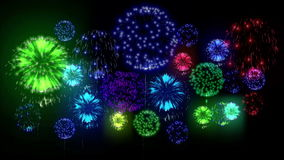 4K - fogos-de-artifício Celebração do feriado, fogos-de-artifício grandes na noite do feriado Versão 12 ilustração stock