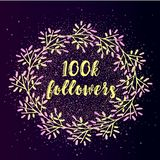 100k follower background with flat gradient wreath on glitter background. Beautiful social media icon Stock Photography