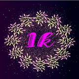 1k follower background with flat gradient wreath on glitter background. Royalty Free Stock Photos