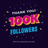100k followers card banner post template for celebrating many followers in online social media networks. Vector eps vector illustration