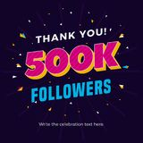 500k followers card banner post template for celebrating many followers in online social media networks. Vector eps royalty free illustration