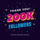 200k followers card banner post template for celebrating many followers in online social media networks. Vector eps Vector Illustration