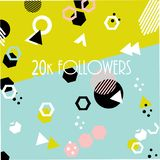 20k followers card banner template for celebrating many followers in online social media networks. 1k followers card banner template for celebrating many royalty free illustration