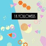1k followers card banner template for celebrating many followers in online social media networks vector illustration