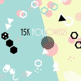 15k followers card banner template for celebrating many followers in online social media networks. Vector pattern of colored likes 10K subscribers royalty free illustration