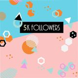 5k followers card banner template for celebrating many followers in online social media networks vector illustration