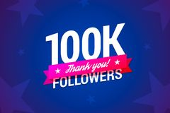 100k followers card. Vector illustration in gradient style Royalty Free Stock Images