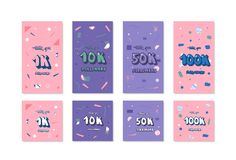 1K, 10K, 50 K, 100K followers cards. Vector social media template. Set of social media templates networks. 1K, 10K, 50K, 100K followers thank you cards for royalty free illustration