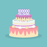 100K followers celebration. Cute layered cake covered with icing. / flat   illustration, clip art Stock Photography