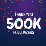 500k followers celebration success template design. Vector vector illustration