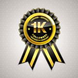 1K Followers gold ribbon, for banner, website, and other social media. Easy to modify Royalty Free Illustration
