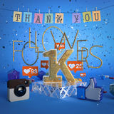 1000, 1K followers illustration with thank you on blue background. 3d rendering. 1000, 1K followers illustration with thank you. 3d rendering Royalty Free Stock Photography
