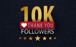 10k Followers illustration with thank you on a button. Vector illustration. 10k Followers illustration with thank you on a button. Vector illustration Royalty Free Stock Image