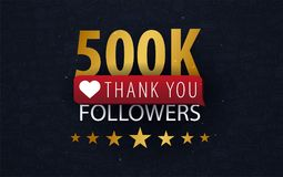 500k Followers illustration with thank you on a button. Vector illustration. 500k Followers illustration with thank you on a button. Vector illustration royalty free illustration
