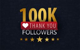 100k Followers illustration with thank you on a button. Vector illustration. 100k Followers illustration with thank you on a button. Vector illustration royalty free illustration
