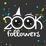 Thank You design template for social media, network, and followe. 200k followers illustration for Web user celebrates a large number of subscribers stock illustration