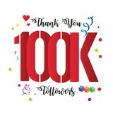 Thank You design template for social media, network, and followe. 100k followers  illustration for Web user celebrates a large number of subscribers Stock Image
