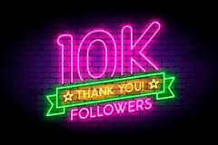10K, 10000 followers neon sign on the wall. Realistic neon sign with number of followers and thank you phrase on the ribbon with stars. Vector illustration for vector illustration