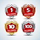 1K, 5k, 10k, 100k Followers. Silver, bronze, gold, platinum versions. Design logotype, sign template for social network and follow stock illustration