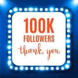 100k followers, social media banner, congratulation, celebration. Vector illustration Royalty Free Illustration