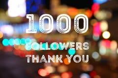 1k followers. 1000 followers - social media milestone achievement. Online community thank you note. 1000 likes royalty free illustration