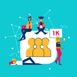 1k Followers on social media network concept. Social media followers concept illustration in modern flat art style. Young people group celebrating 1000 fans on Royalty Free Stock Photography