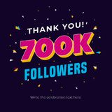 700k followers social media post background template. Creative celebration typography design with confetti ornament for online web. Site banner, poster, card Royalty Free Illustration