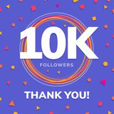 10k followers, social sites post, greeting card. Vector illustration Stock Images