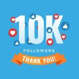 10k followers, social sites post, greeting card. Vector illustration Royalty Free Stock Photos