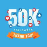 50k followers, social sites post, greeting card. Vector illustration Royalty Free Stock Photography
