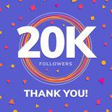 20k followers, social sites post, greeting card. Vector illustration Royalty Free Stock Image