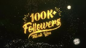 100K+ Followers Text Greeting Wishes Sparklers Particles Dark Night Sky Firework