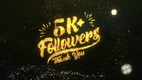 k followers text greeting wishes sparklers particles night sky firework and card made from glitter light dark with colorful royalty free illustration