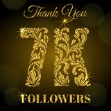 7K Followers. Thank you banner. Golden letters with sparks on a dark background. 7K Followers. Thank you banner. Decorative Font with swirls and floral elements royalty free illustration