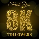 8K Followers. Thank you banner. Golden letters with sparks on a dark background. 8K Followers. Thank you banner. Decorative Font with swirls and floral elements Royalty Free Illustration