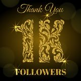 1K Followers. Thank you banner. Golden letters with sparks on a dark background. vector illustration