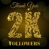 2K Followers. Thank you banner. Golden letters with sparks on a dark background. 2K Followers. Thank you banner. Decorative Font with swirls and floral elements royalty free illustration