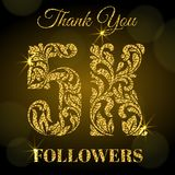 5K Followers. Thank you banner. Golden letters with sparks on a dark background. 5K Followers. Thank you banner. Decorative Font with swirls and floral elements vector illustration