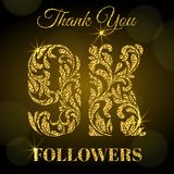 9K Followers. Thank you banner. Golden letters with sparks on a dark background. stock illustration
