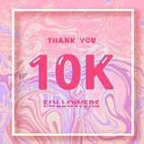 10K Followers thank you banner. Vector illustration. 10K Followers thank you square banner with liquid background and frame. Template for social media post Royalty Free Stock Photography