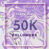 50K Followers thank you banner. Vector illustration. 50K Followers thank you square banner with liquid background and frame. Template for social media post Stock Images