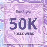 50K Followers thank you banner. Vector illustration. 50K Followers thank you square banner with liquid background and frame. Template for social media post vector illustration